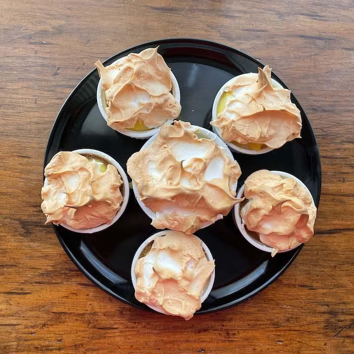 Top with meringue and bake until browned.