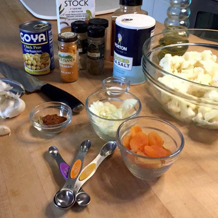 Cauliflower tagine ingredients