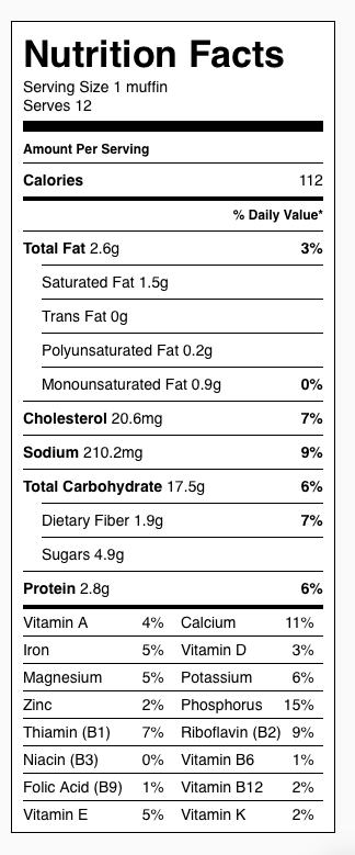 Gluten Free Blueberry Muffin (Oat) Nutrition Label. Each serving is one muffin.