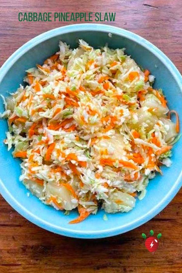 Pineapple Coleslaw, awesome! 7 ingredients. #PineappleColelsaw #Coleslaw #CabbagePineappleSlaw #yum #recipes #glutenfree #HealthyTwist #RecipeIdeaShop