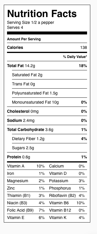 Roasted Red Peppers Nutrition Label. Each serving is 1/2 a pepper.