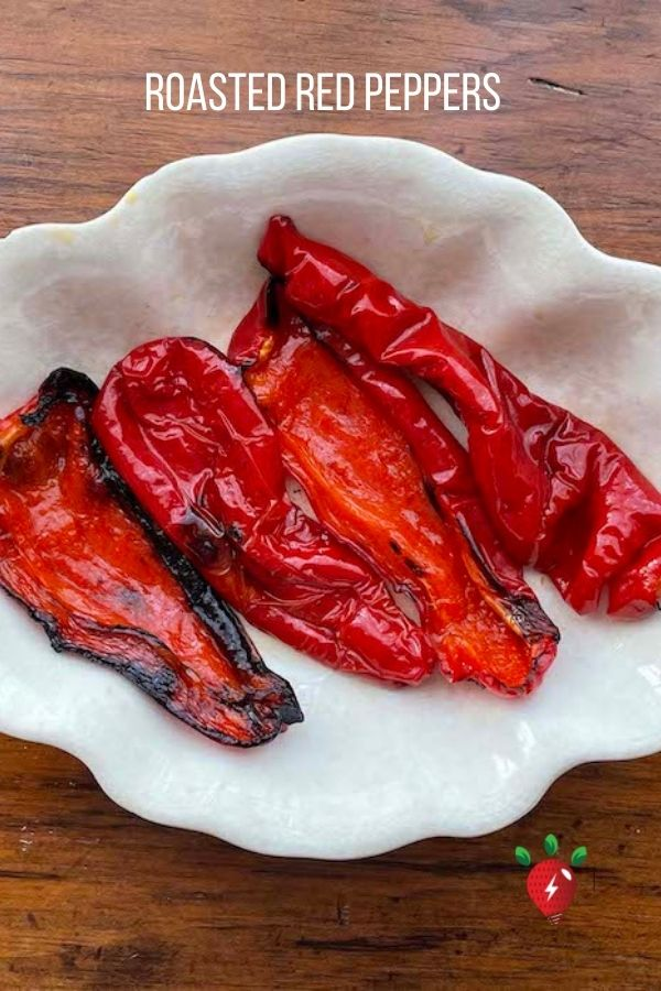 Roasting red peppers really elevates the flavor. 30 minutes. 2 ingredients. #RoastedRedPeppers #GlutenFree #Vegan #Recipes #HealthyTwist #RecipeIdeaShop